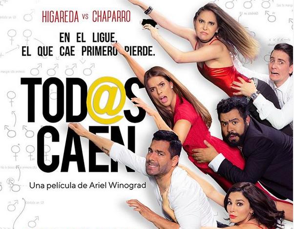 Publicidad oficial de la película Todos Caen en el que vemos a todos los del elenco principal.